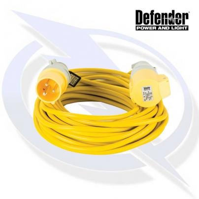 Defender 14M EXTENSION LEAD - 16A 1.5MM CABLE - YELLOW 110V