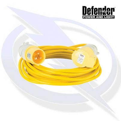 Defender 10M EXTENSION LEAD - 16A 1.5MM CABLE - YELLOW 110V