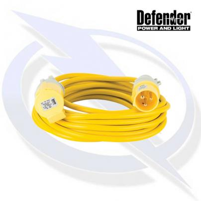 DEFENDER 10M EXTENSION LEAD - 16A 2.5MM CABLE - YELLOW 110V