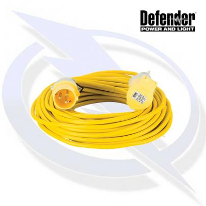Defender 25M EXTENSION LEAD - 16A 1.5MM CABLE - YELLOW 110V
