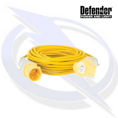Defender 14M Extension Lead - 32A 2.5mm Cable - Yellow 110V