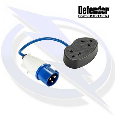 Defender 16-2x 13A Fly Lead - 16A Plug 2x 13A Socket 240V