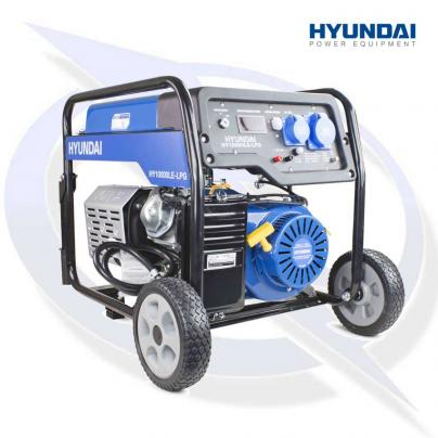 Hyundai HY10000LE-LPG. The 7.0kW/8.75kVA Recoil & Electric Start Dual Fuel Petrol/LPG Generator
