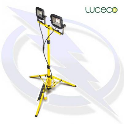 Luceco Site 100V Twin Head Tripod Work Light Outlet