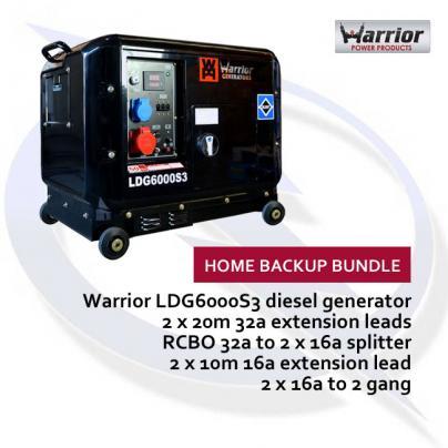Warrior LDG6000S3 6.6kW 3 Phase Diesel Generator Home Backup Bundle