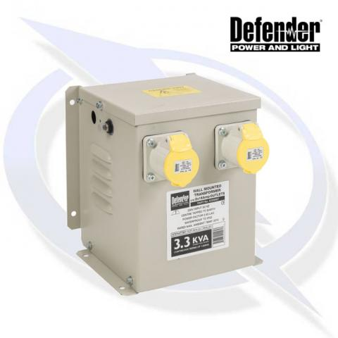 Defender 3.3KVA WALL MOUNTED TRANSFORMER 2X 16A 110V OUTLETS